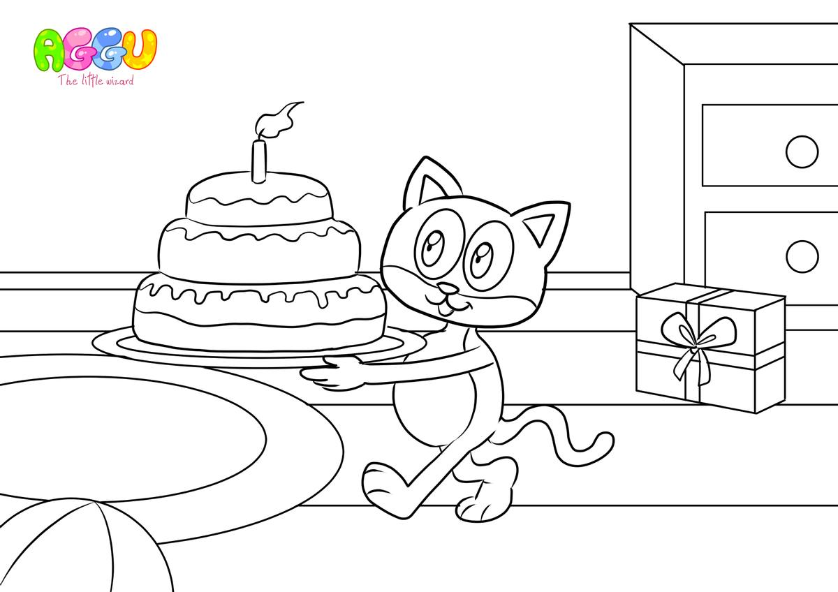 Aggu Happy Birthday coloring page thumbnail