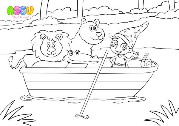 Aggu Row Your Boat coloring page thumbnail