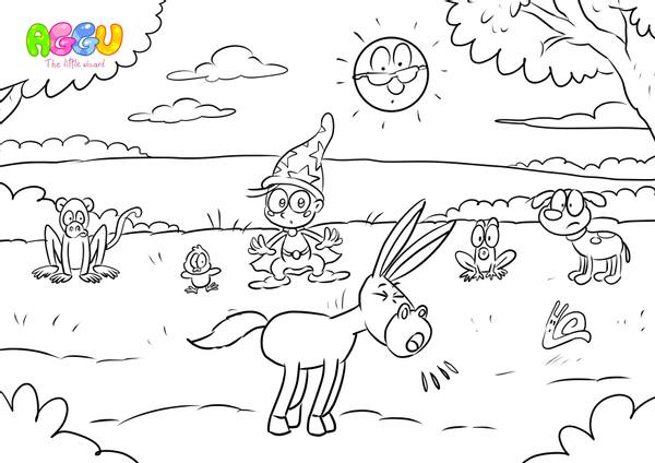 Aggu Stay Healthy coloring page thumbnail