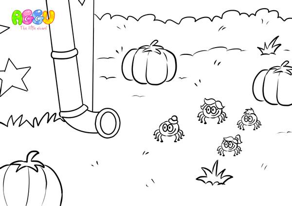 Aggu Itsy Bitsy Spider coloring page thumbnail