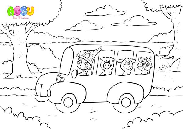 Aggu Wheels On The Bus coloring page thumbnail