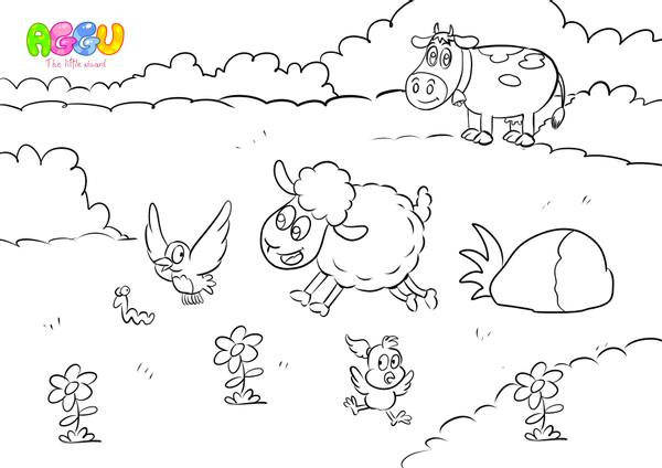 Aggu Baa Baa Black Sheep coloring page thumbnail
