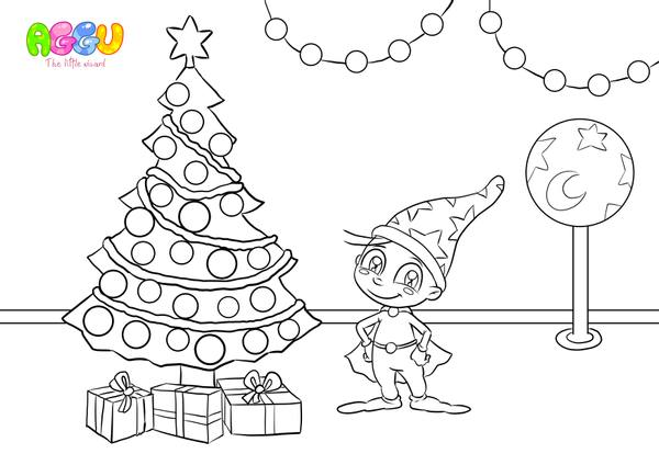 Aggu We Wish You A Merry Christmas coloring page thumbnail