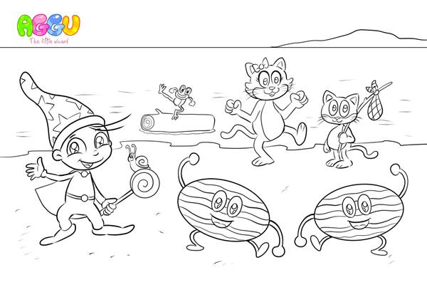 Aggu Down By The Bay coloring page thumbnail