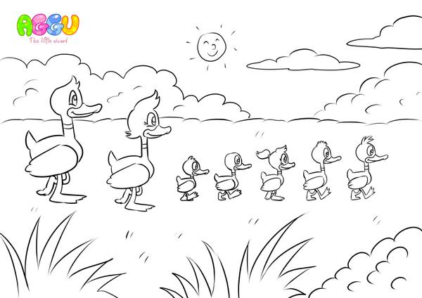Aggu 5 Little Ducks coloring page thumbnail