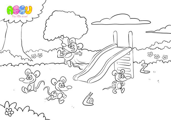 Aggu The More We Get Together coloring page thumbnail