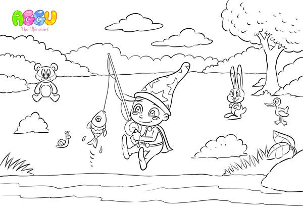 Aggu Once I Caught A Fish Alive coloring page thumbnail